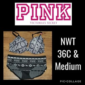 NWT PINK by Victoria's Secret 36C & Panty  Medium